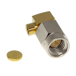 SSMA Right Angle Male for .047 Semi-Rigid Cable Solder 50ohm Stainless Steel Passivated Connector