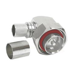 7/16 Right Angle Male Plug for LMR600 Connectors White Bronze