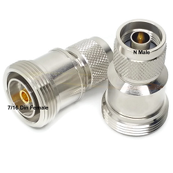 7/16 DIN Female to N Male Adapter Nickel Plated Brass 50ohm