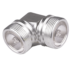 7/16 DIN Female To 7/16 Feamle Right Angle Adapter Silver Plated
