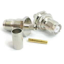 Mini-UHF Female Bulkhead RG59, RG62, RG71 Crimp 50ohm DC-2GHz Brass Nickel Connector