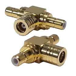 SMB Female Plug to Male Jack to Male Jack Tee Adapter Gold Plated Brass 50ohm