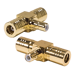 SMB Male Jack to Female Plug to Female Plug Tee Adatper Adapter Gold Plated Brass 50ohm