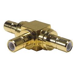 SMB Male Jack to SMB Male Jack to SMB Male Jack Tee Adapter Gold Plated Brass 50ohm