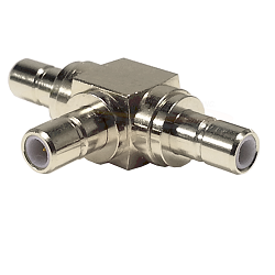 SMB Male Jack to SMB Male Jack to SMB Male Jack Tee Adapter Nickel Plated Brass 50ohm
