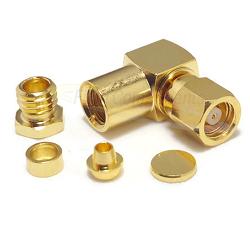 SMC Right Angle Female RG55 RG142 RG223 Clamp Gold
