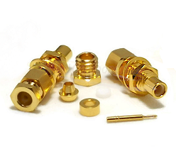 SMC Bulkhead Male RG174 RG188 RG316 LMR100A Clamp Connector Gold