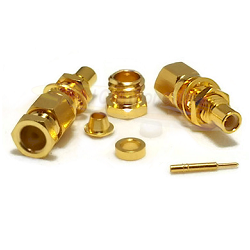 Gold Plated SMC Bulkhead Male RG58 RG141 Connector Clamp