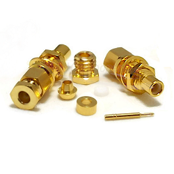 Gold Plated SMC Bulkhead Male RG178 RG196 Clamp Connector