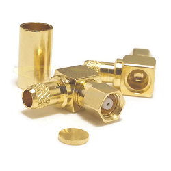 SMC Right Angle Male for RG55 RG142 RG223/U Crimp 50ohm Brass Gold Connector