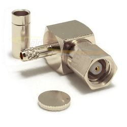 SMC Right Angle Female RG178, RG196 Connector Nickel Plated