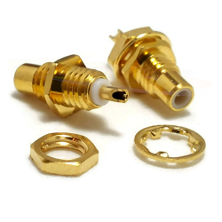 Gold Plated SMC Bulkhead Front Mount Male Receptacle with Solder Cup Contact Connector