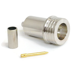 QN Straight Male Crimp Plug for RG58, RG141, LMR195 Crimp 50ohm DC-6.0GHz Brass White Bronze Connect