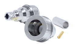 QN Straight Male Crimp Plug for RG214, RG225, RG393 Crimp 50ohm DC-6.0GHz Brass White Bronze Connect