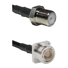 F Female Connector On LMR-240UF UltraFlex To 7/16 4 Hole Female Connector Cable Assembly