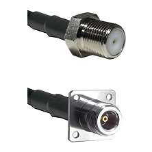 F Female Connector On LMR-240UF UltraFlex To N 4 Hole Female Connector Cable Assembly