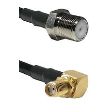 F Female Connector On LMR-240UF UltraFlex To SMA Reverse Thread Right Angle Female Bulkhead Connecto
