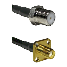 F Female Connector On LMR-240UF UltraFlex To SMA 4 Hole Female Connector Cable Assembly