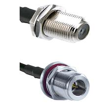 F Female Bulkhead Connector On LMR-240 To N Reverse Polarity Female Bulkhead Connector Coaxial Cable
