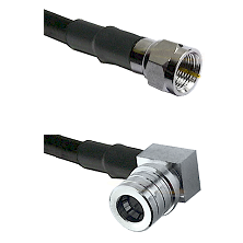 F Male Connector On LMR-240UF UltraFlex To QMA Right Angle Male Connector Cable Assembly