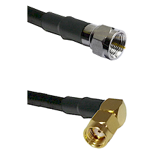 F Male Connector On LMR-240UF UltraFlex To SMA Reverse Polarity Right Angle Male Connector Coaxial C