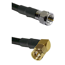 F Male Connector On LMR-240UF UltraFlex To SMA Right Angle Male Connector Cable Assembly