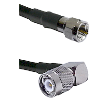 F Male Connector On LMR-240UF UltraFlex To TNC Right Angle Male Connector Cable Assembly