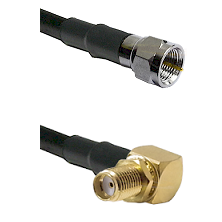 F Male Connector On LMR-240UF UltraFlex To SMA Reverse Thread Right Angle Female Bulkhead Connector