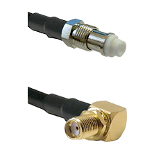 FME Female Connector On LMR-240UF UltraFlex To SMA Reverse Thread Right Angle Female Bulkhead Connec