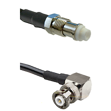 FME Female on RG58C/U to MHV Right Angle Male Cable Assembly