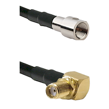 FME Male on LMR240 Ultra Flex to SMA Reverse Thread Right Angle Female Bulkhead Coaxial Cable Assemb