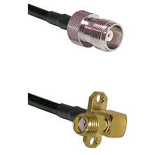 HN Female Connector On LMR-240UF UltraFlex To SMA 2 Hole Right Angle Female Connector Coaxial Cable