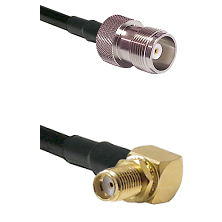 HN Female Connector On LMR-240UF UltraFlex To SMA Reverse Thread Right Angle Female Bulkhead Connect