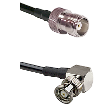 HN Female on RG214 to BNC Reverse Polarity Right Angle Male Cable Assembly