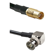 MCX Female on RG58C/U to BNC Reverse Polarity Right Angle Male Cable Assembly