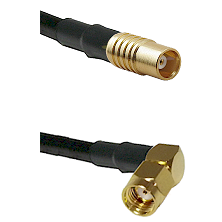 MCX Female on RG58C/U to SMA Reverse Polarity Right Angle Male Cable Assembly
