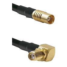 MCX Female on RG58C/U to SMA Reverse Thread Right Angle Female Bulkhead Cable Assembly