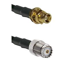 MCX Female Bulkhead on LMR100 to Mini-UHF Female Cable Assembly