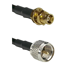 MCX Female Bulkhead on RG142 to Mini-UHF Male Cable Assembly