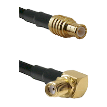 MCX Male on RG142 to SMA Reverse Thread Right Angle Female Bulkhead Cable Assembly