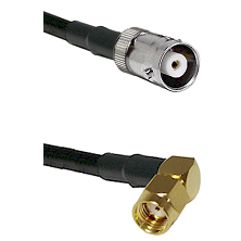 MHV Female on LMR200 UltraFlex to SMA Reverse Polarity Right Angle Male Cable Assembly