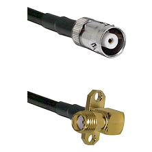 MHV Female Connector On LMR-240UF UltraFlex To SMA 2 Hole Right Angle Female Connector Coaxial Cable