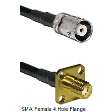 MHV Female Connector On LMR-240UF UltraFlex To SMA 4 Hole Female Connector Cable Assembly