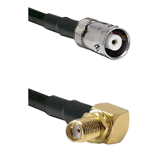 MHV Female on RG400 to SMA Reverse Thread Right Angle Female Bulkhead Cable Assembly