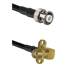 MHV Male on LMR-195-UF UltraFlex to SMA 2 Hole Right Angle Female Cable Assembly