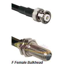 MHV Male Connector On LMR-240UF UltraFlex To F Female Bulkhead Connector Cable Assembly