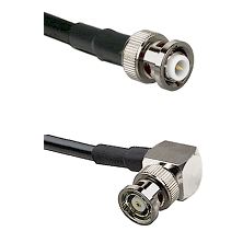 MHV Male Connector On LMR-240UF UltraFlex To BNC Reverse Polarity Right Angle Male Connector Coaxial