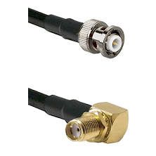 MHV Male Connector On LMR-240UF UltraFlex To SMA Right Angle Female Bulkhead Connector Coaxial Cable