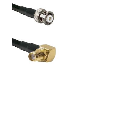 MHV Male Connector On LMR-240UF UltraFlex To SMA Reverse Thread Right Angle Female Bulkhead Connecto