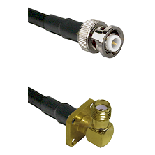 MHV Male on RG400 to SMA 4 Hole Right Angle Female Cable Assembly